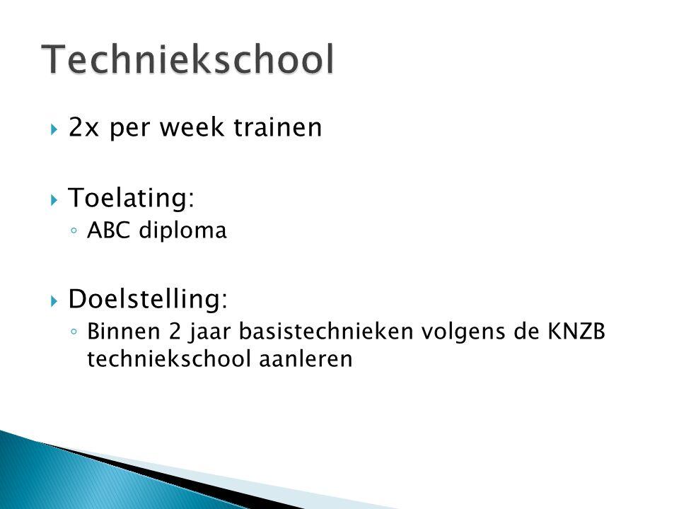  2x per week trainen  Toelating: ◦ ABC diploma  Doelstelling: ◦ Binnen 2 jaar basistechnieken volgens de KNZB techniekschool aanleren