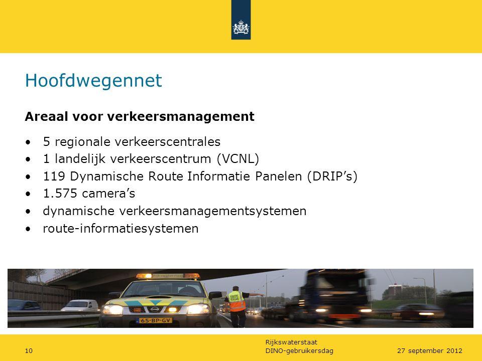 Rijkswaterstaat DINO-gebruikersdag1027 september 2012 Hoofdwegennet Areaal voor verkeersmanagement •5 regionale verkeerscentrales •1 landelijk verkeer
