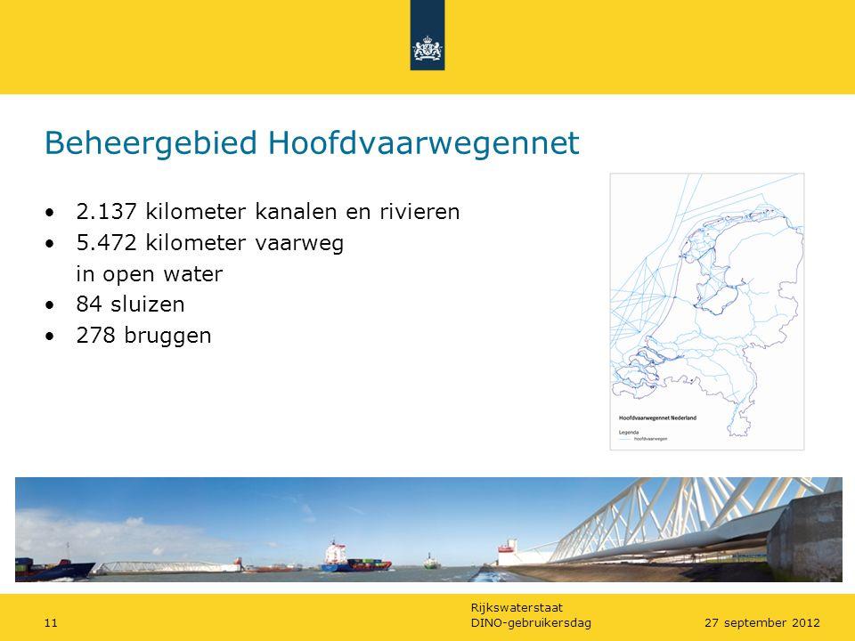 Rijkswaterstaat DINO-gebruikersdag1127 september 2012 Beheergebied Hoofdvaarwegennet •2.137 kilometer kanalen en rivieren •5.472 kilometer vaarweg in