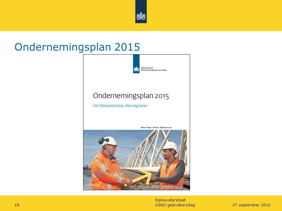 Rijkswaterstaat DINO-gebruikersdag1927 september 2012 Ondernemingsplan 2015