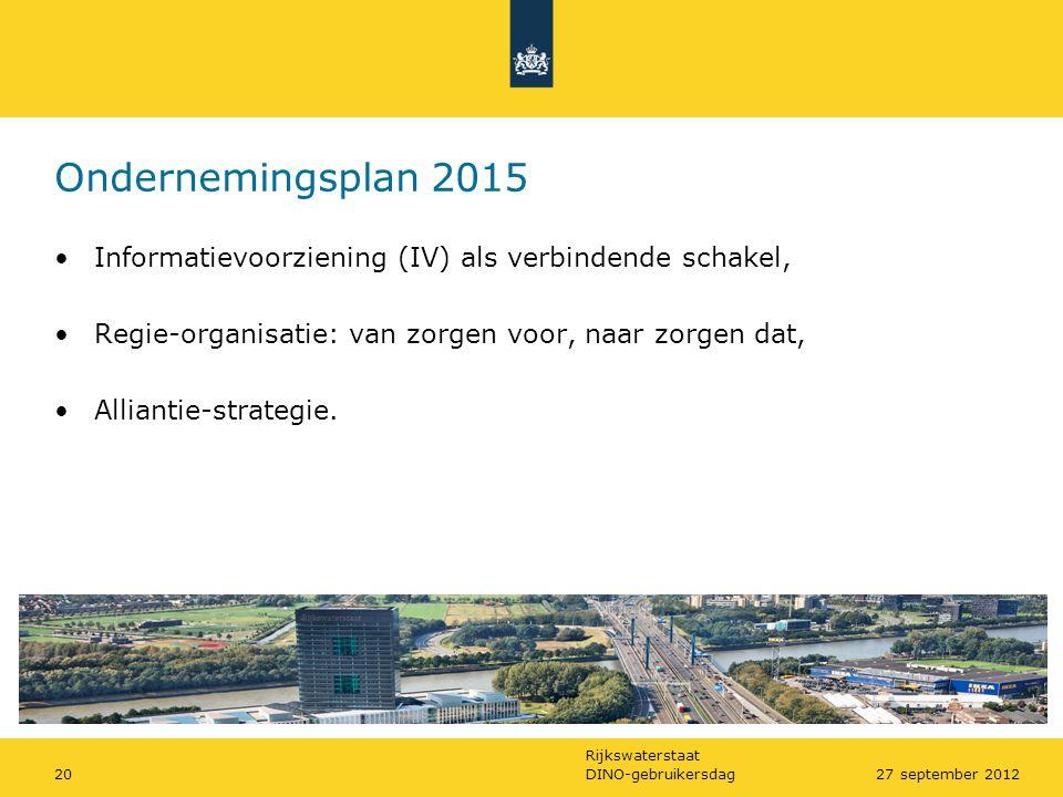 Rijkswaterstaat DINO-gebruikersdag2027 september 2012 Ondernemingsplan 2015 •Informatievoorziening (IV) als verbindende schakel, •Regie-organisatie: v