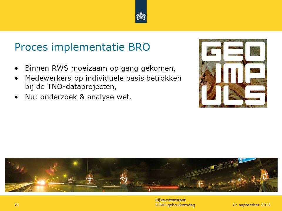 Rijkswaterstaat Proces implementatie BRO •Binnen RWS moeizaam op gang gekomen, •Medewerkers op individuele basis betrokken bij de TNO-dataprojecten, •
