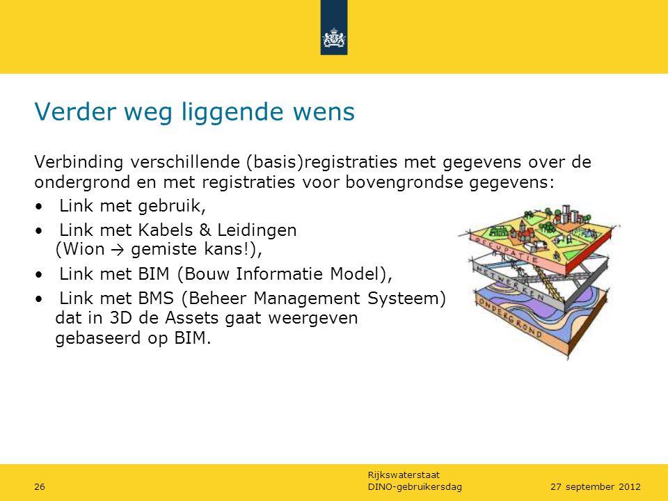 Rijkswaterstaat DINO-gebruikersdag2627 september 2012 Verder weg liggende wens Verbinding verschillende (basis)registraties met gegevens over de onder