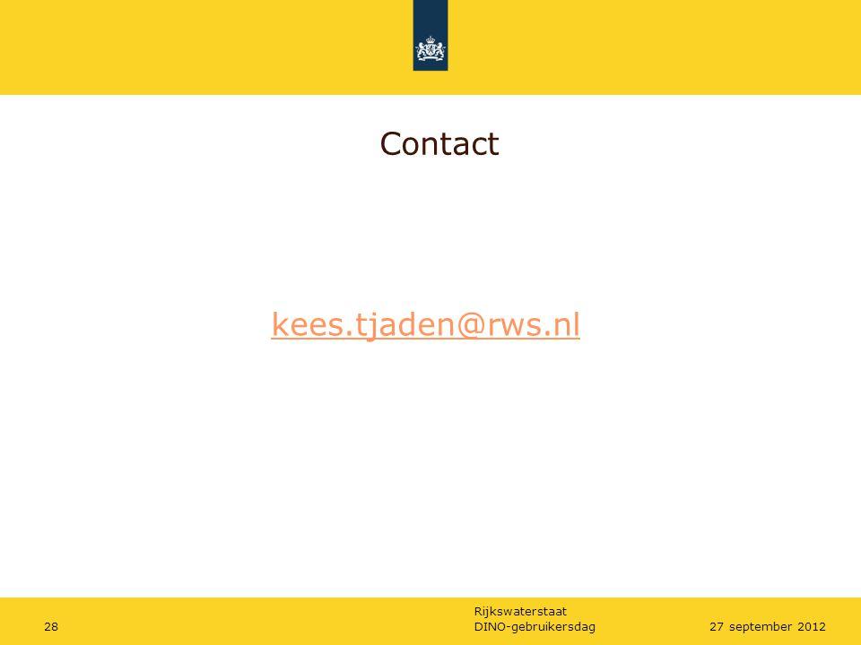 Rijkswaterstaat DINO-gebruikersdag2827 september 2012 Contact kees.tjaden@rws.nl