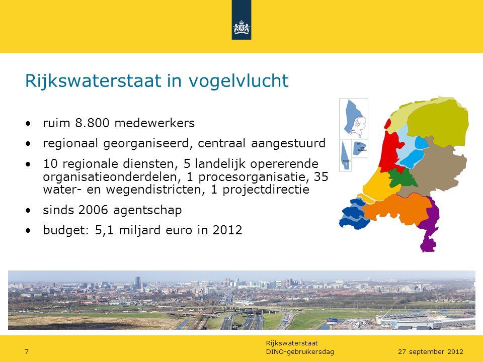 Rijkswaterstaat DINO-gebruikersdag727 september 2012 Rijkswaterstaat in vogelvlucht •ruim 8.800 medewerkers •regionaal georganiseerd, centraal aangest
