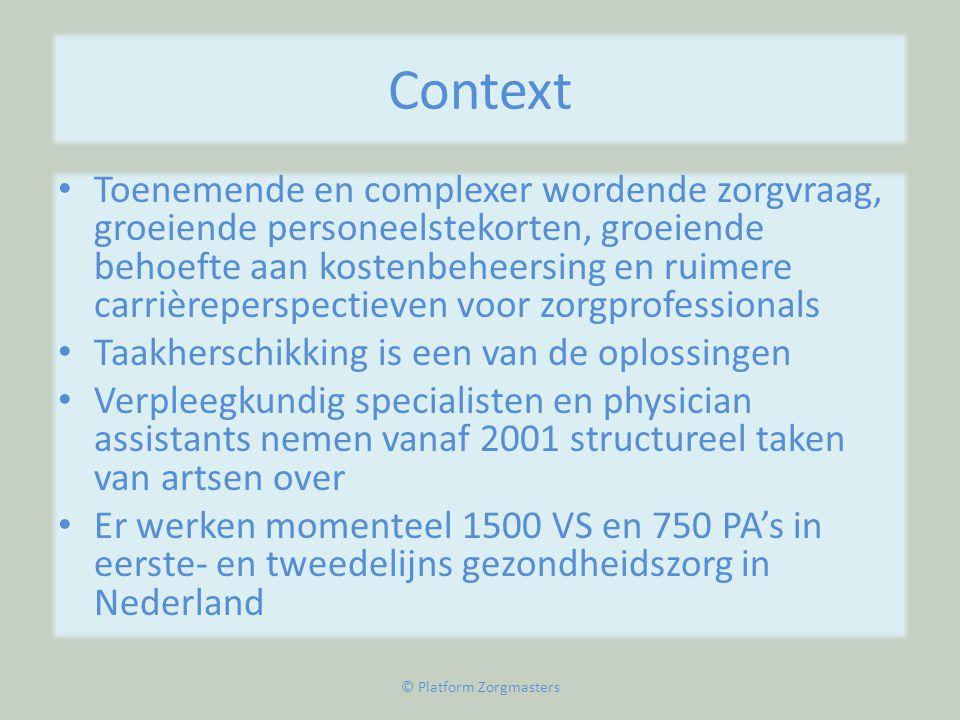 Context • Toenemende en complexer wordende zorgvraag, groeiende personeelstekorten, groeiende behoefte aan kostenbeheersing en ruimere carrièreperspec