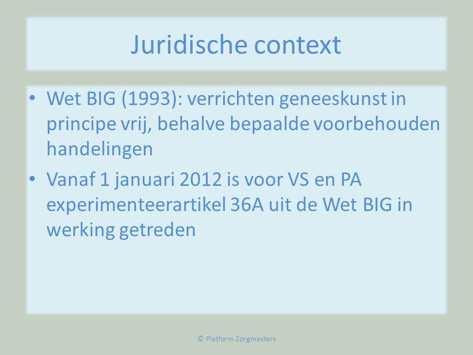 Juridische context • Wet BIG (1993): verrichten geneeskunst in principe vrij, behalve bepaalde voorbehouden handelingen • Vanaf 1 januari 2012 is voor