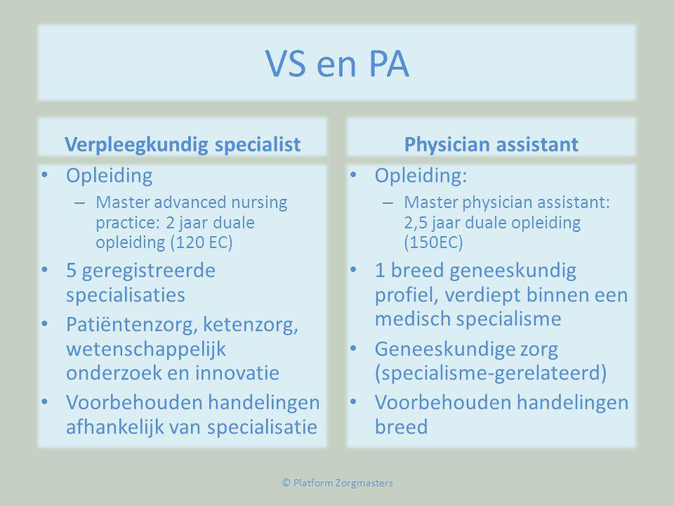VS en PA Verpleegkundig specialist • Opleiding – Master advanced nursing practice: 2 jaar duale opleiding (120 EC) • 5 geregistreerde specialisaties •
