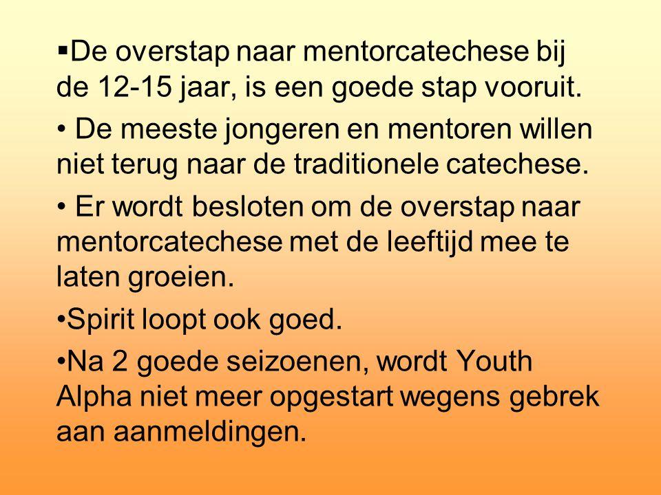  De overstap naar mentorcatechese bij de 12-15 jaar, is een goede stap vooruit. • De meeste jongeren en mentoren willen niet terug naar de traditione