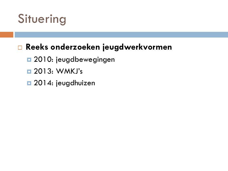 Situering  Reeks onderzoeken jeugdwerkvormen  2010: jeugdbewegingen  2013: WMKJ's  2014: jeugdhuizen