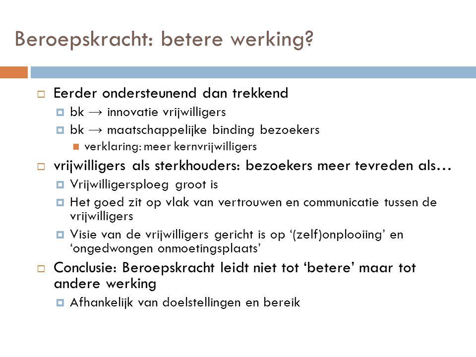 Beroepskracht: betere werking?  Eerder ondersteunend dan trekkend  bk → innovatie vrijwilligers  bk → maatschappelijke binding bezoekers  verklari