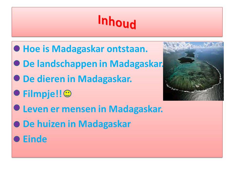 • Hoe is Madagaskar ontstaan. • De landschappen in Madagaskar. • De dieren in Madagaskar. • Filmpje!! • Leven er mensen in Madagaskar. • De huizen in