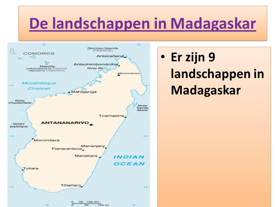 De landschappen in Madagaskar • Er zijn 9 landschappen in Madagaskar