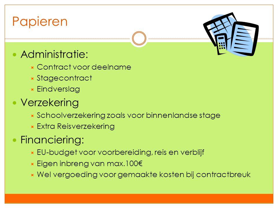 Papieren  Administratie:  Contract voor deelname  Stagecontract  Eindverslag  Verzekering  Schoolverzekering zoals voor binnenlandse stage  Ext