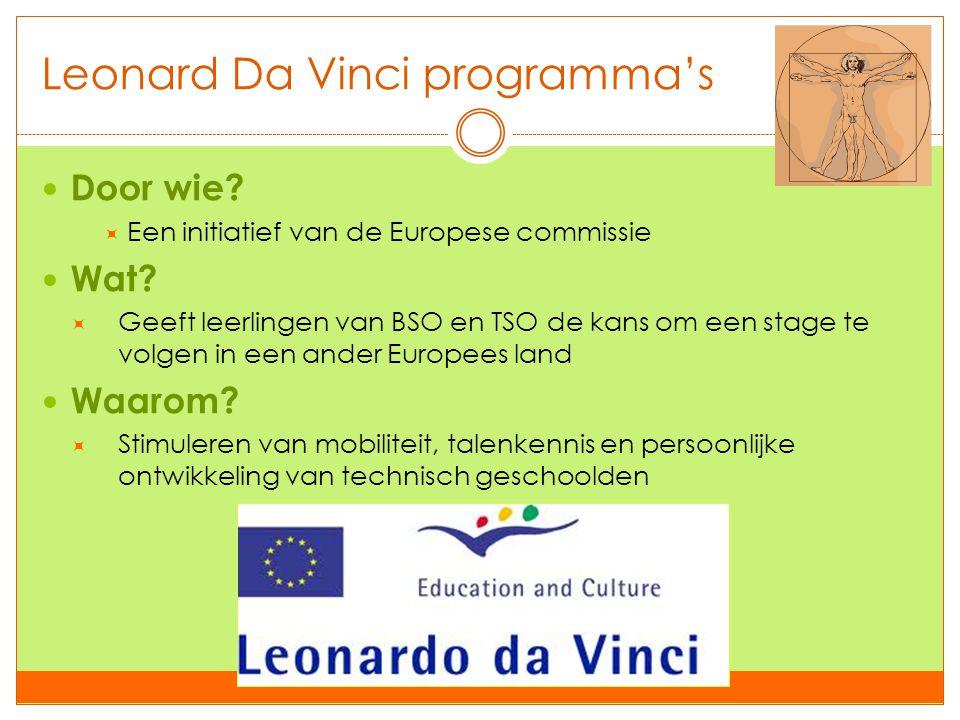 Leonard Da Vinci programma's  Door wie?  Een initiatief van de Europese commissie  Wat?  Geeft leerlingen van BSO en TSO de kans om een stage te v