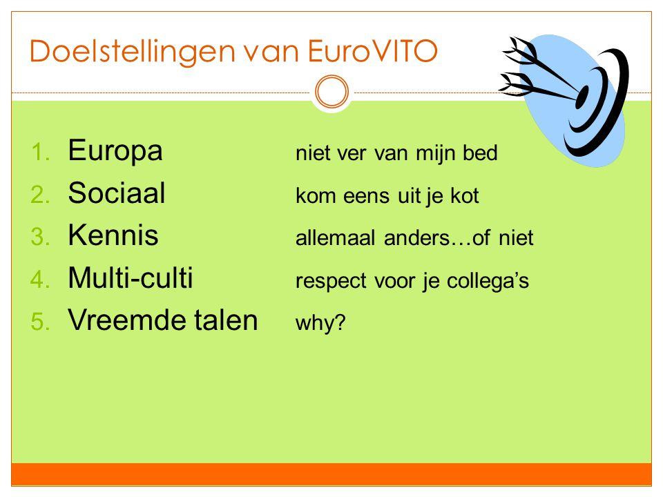 Doelstellingen van EuroVITO 1. Europa niet ver van mijn bed 2. Sociaal kom eens uit je kot 3. Kennis allemaal anders…of niet 4. Multi-culti respect vo