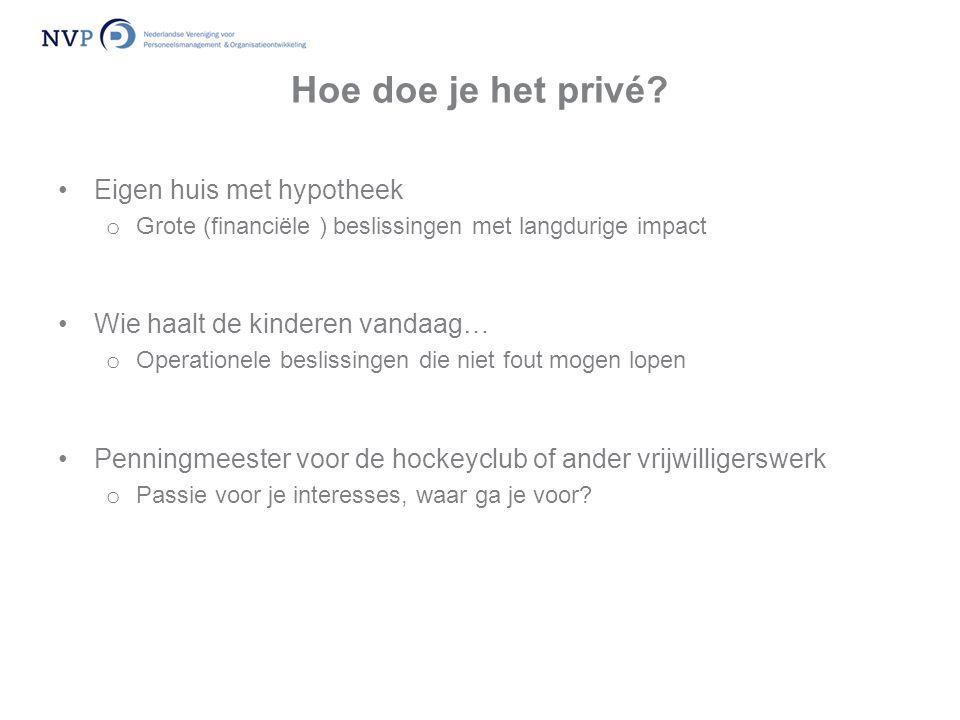 Hoe doe je het privé? •Eigen huis met hypotheek o Grote (financiële ) beslissingen met langdurige impact •Wie haalt de kinderen vandaag… o Operationel