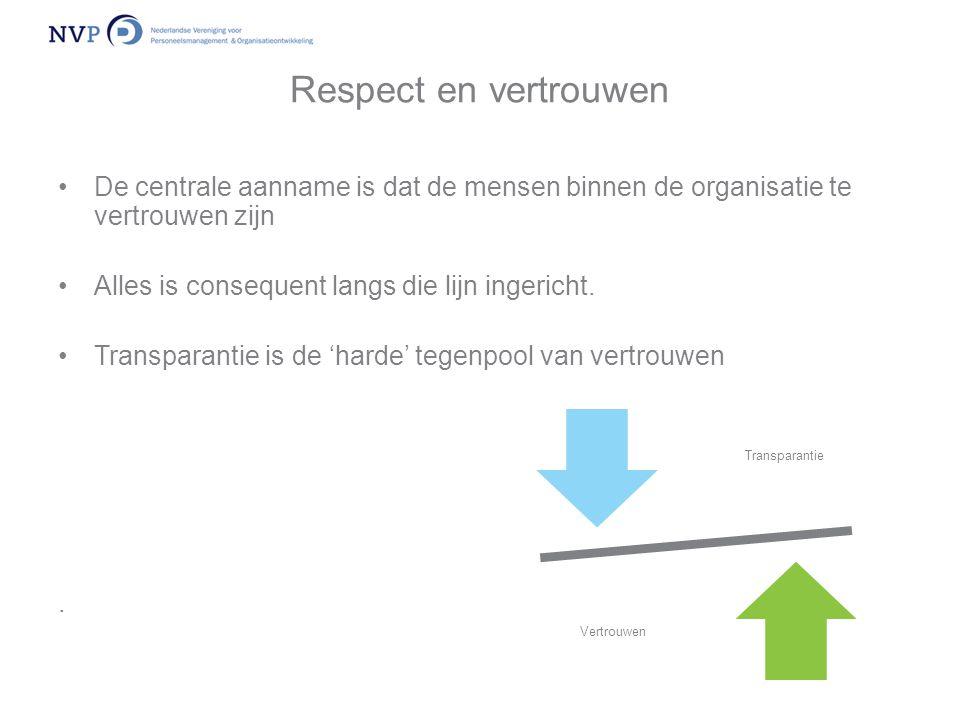 Respect en vertrouwen •De centrale aanname is dat de mensen binnen de organisatie te vertrouwen zijn •Alles is consequent langs die lijn ingericht. •T