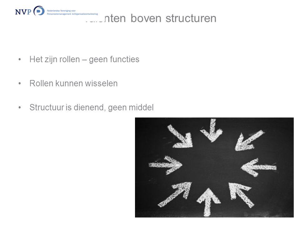 Talenten boven structuren •Het zijn rollen – geen functies •Rollen kunnen wisselen •Structuur is dienend, geen middel