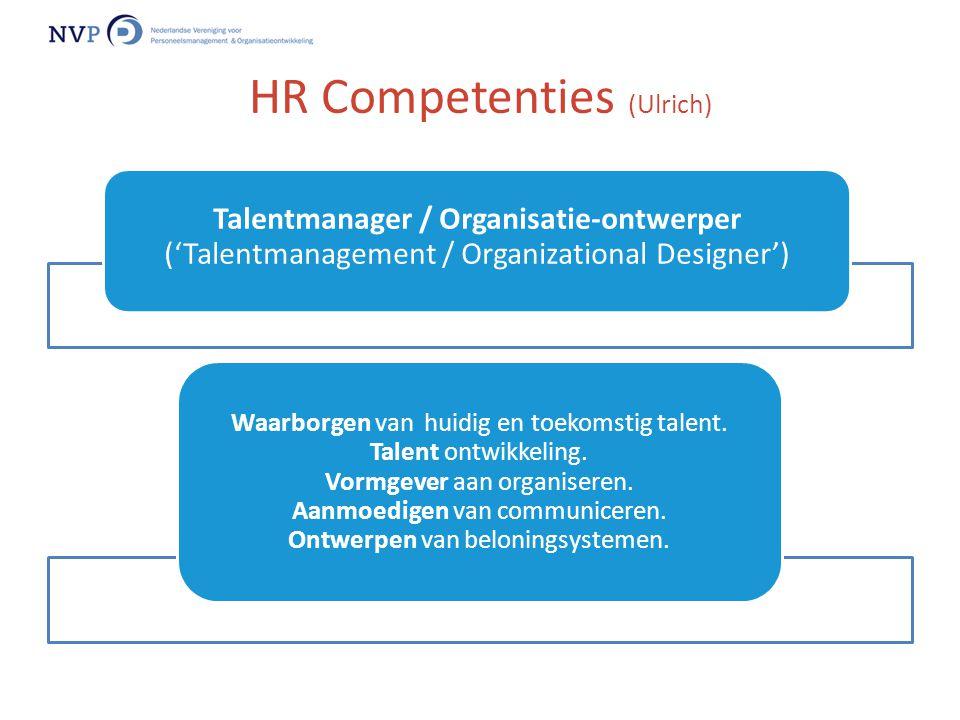Talentmanager / Organisatie-ontwerper ('Talentmanagement / Organizational Designer') Waarborgen van huidig en toekomstig talent. Talent ontwikkeling.