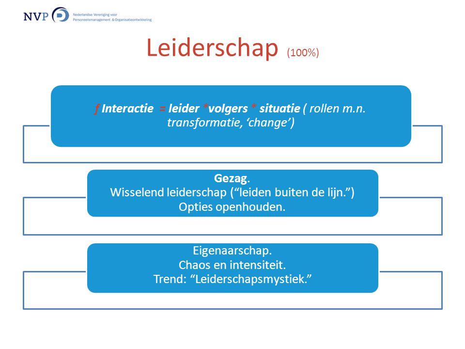 """f Interactie = leider *volgers * situatie ( rollen m.n. transformatie, 'change') Gezag. Wisselend leiderschap (""""leiden buiten de lijn."""") Opties openho"""
