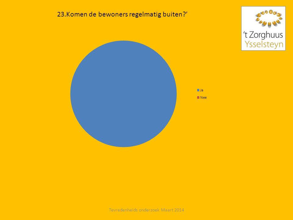 23.Komen de bewoners regelmatig buiten?' Tevredenheids onderzoek Maart 2014