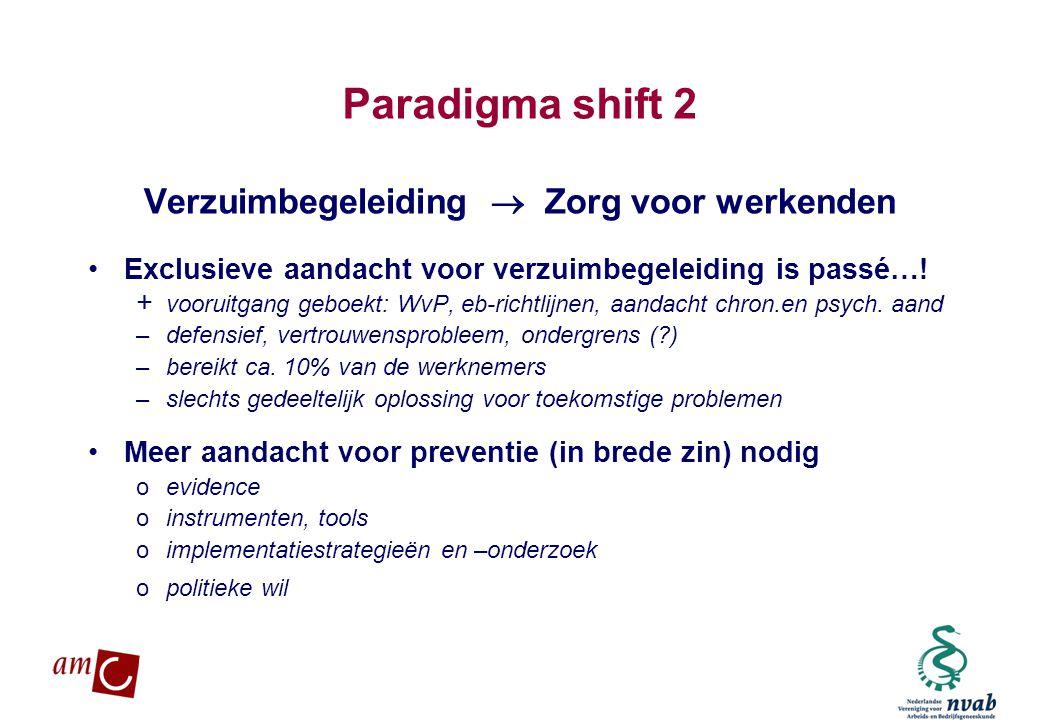 MAETIS ARBO. WERKEN IS GEZOND Paradigma shift 2 Verzuimbegeleiding  Zorg voor werkenden •Exclusieve aandacht voor verzuimbegeleiding is passé…! + voo