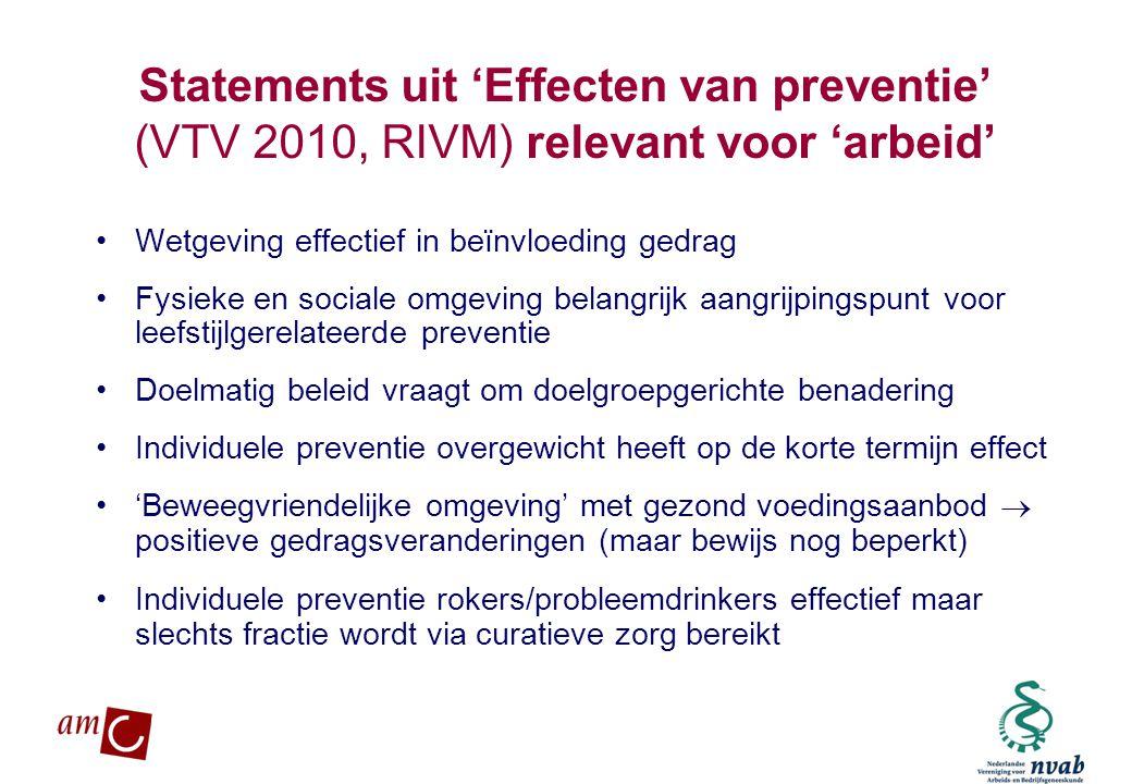 MAETIS ARBO. WERKEN IS GEZOND Statements uit 'Effecten van preventie' (VTV 2010, RIVM) relevant voor 'arbeid' •Wetgeving effectief in beïnvloeding ged
