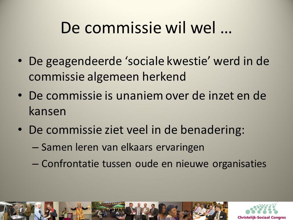De commissie wil wel … • De geagendeerde 'sociale kwestie' werd in de commissie algemeen herkend • De commissie is unaniem over de inzet en de kansen • De commissie ziet veel in de benadering: – Samen leren van elkaars ervaringen – Confrontatie tussen oude en nieuwe organisaties