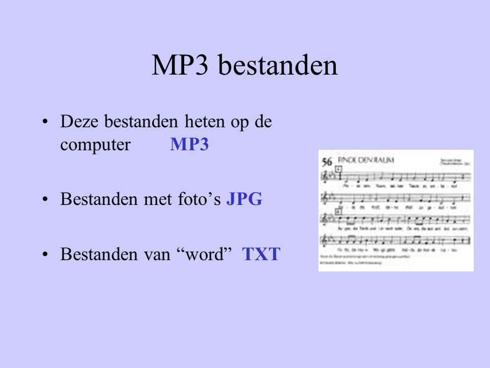 MP3 bestanden •Deze bestanden heten op de computer MP3 •Bestanden met foto's JPG •Bestanden van word TXT