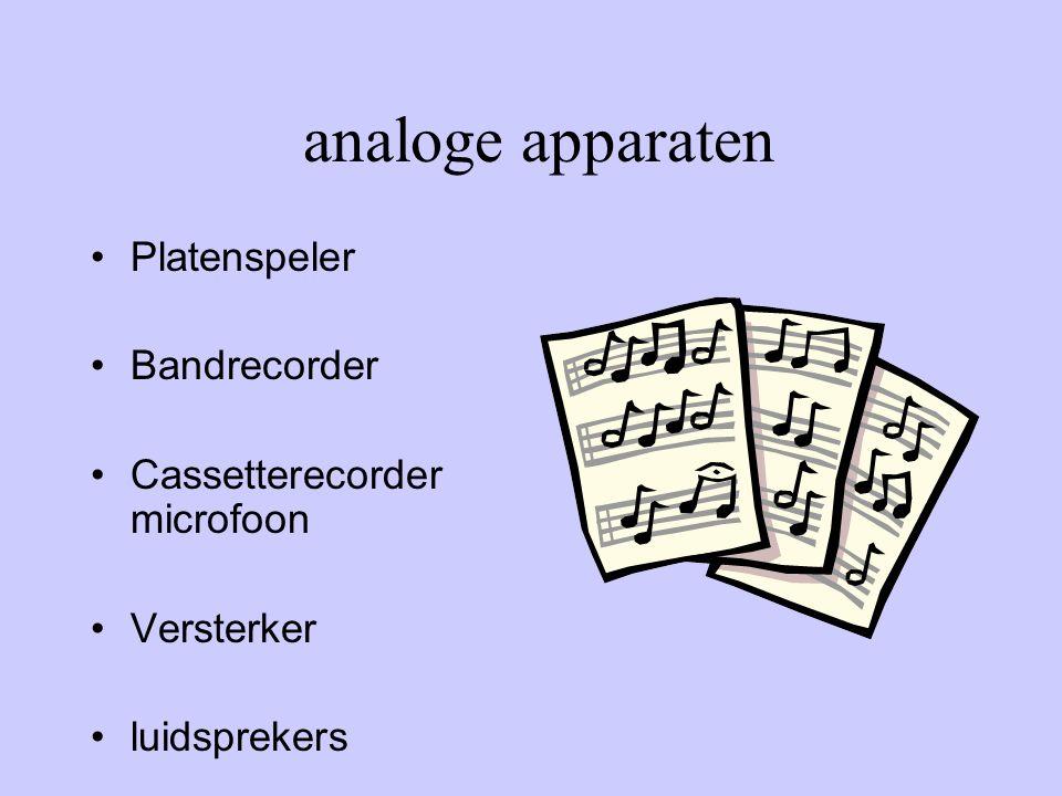 analoge apparaten •Platenspeler •Bandrecorder •Cassetterecorder microfoon •Versterker •luidsprekers