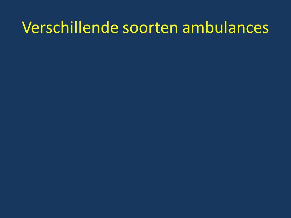 Verschillende soorten ambulances