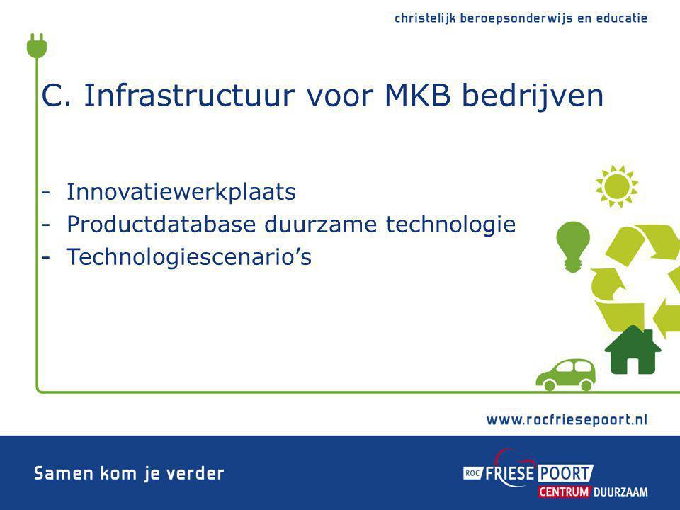 C. Infrastructuur voor MKB bedrijven -Innovatiewerkplaats -Productdatabase duurzame technologie -Technologiescenario's