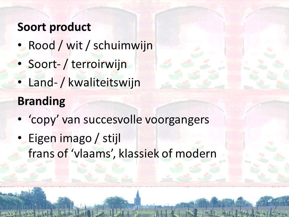 Soort product • Rood / wit / schuimwijn • Soort- / terroirwijn • Land- / kwaliteitswijn Branding • 'copy' van succesvolle voorgangers • Eigen imago /