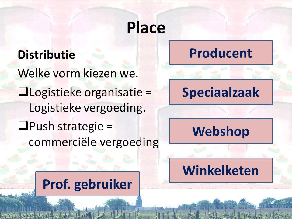 Place Distributie Welke vorm kiezen we.  Logistieke organisatie = Logistieke vergoeding.  Push strategie = commerciële vergoeding Producent Speciaal