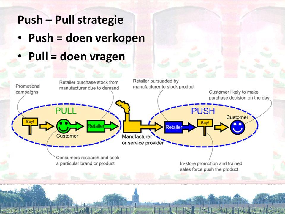 Push – Pull strategie • Push = doen verkopen • Pull = doen vragen