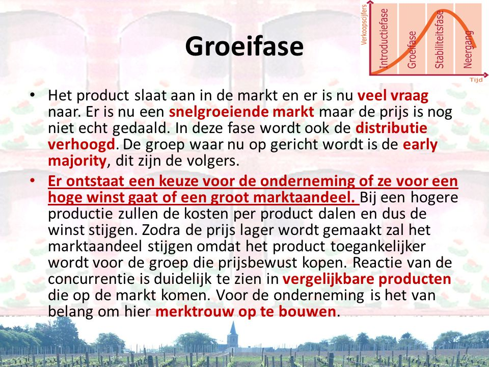 Groeifase • Het product slaat aan in de markt en er is nu veel vraag naar. Er is nu een snelgroeiende markt maar de prijs is nog niet echt gedaald. In