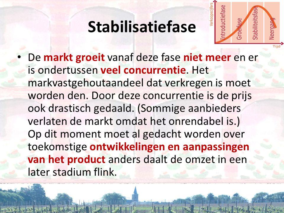 Stabilisatiefase • De markt groeit vanaf deze fase niet meer en er is ondertussen veel concurrentie. Het markvastgehoutaandeel dat verkregen is moet w