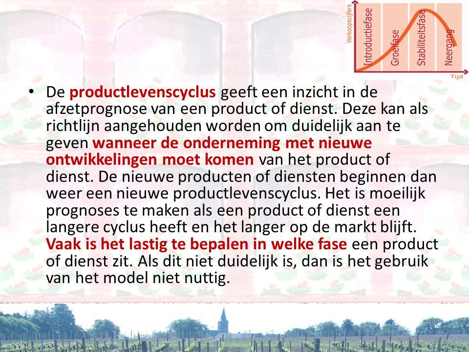 • De productlevenscyclus geeft een inzicht in de afzetprognose van een product of dienst. Deze kan als richtlijn aangehouden worden om duidelijk aan t