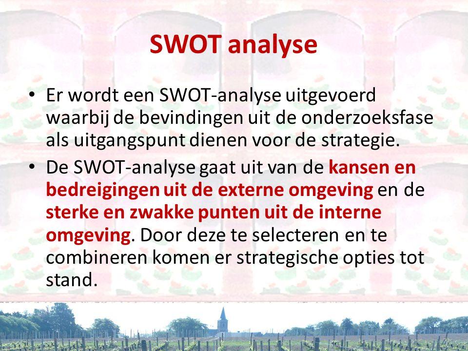 SWOT analyse • Er wordt een SWOT-analyse uitgevoerd waarbij de bevindingen uit de onderzoeksfase als uitgangspunt dienen voor de strategie. • De SWOT-