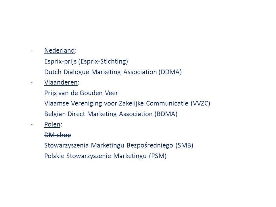 -Nederland: Esprix-prijs (Esprix-Stichting) Dutch Dialogue Marketing Association (DDMA) -Vlaanderen: Prijs van de Gouden Veer Vlaamse Vereniging voor