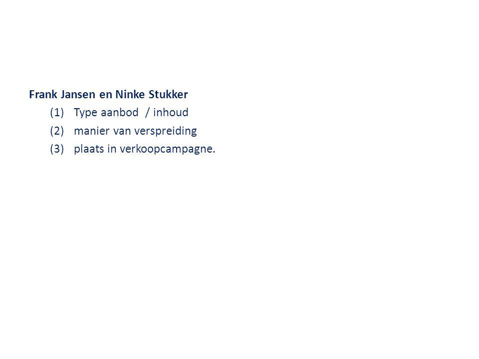 Frank Jansen en Ninke Stukker (1)Type aanbod / inhoud (2)manier van verspreiding (3)plaats in verkoopcampagne.