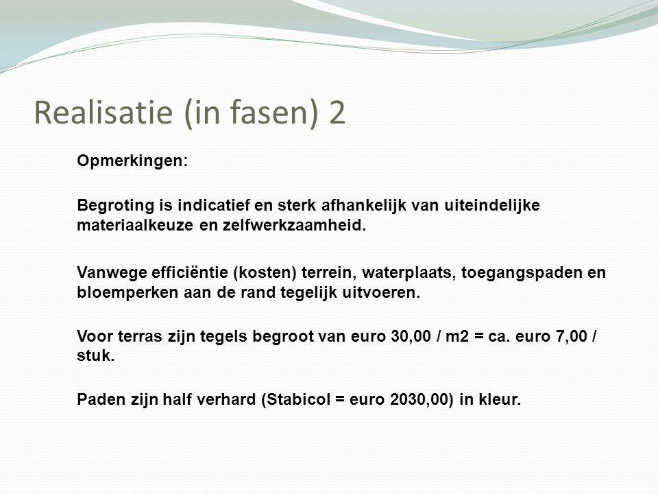 Realisatie (in fasen) 2 Opmerkingen: Begroting is indicatief en sterk afhankelijk van uiteindelijke materiaalkeuze en zelfwerkzaamheid. Vanwege effici