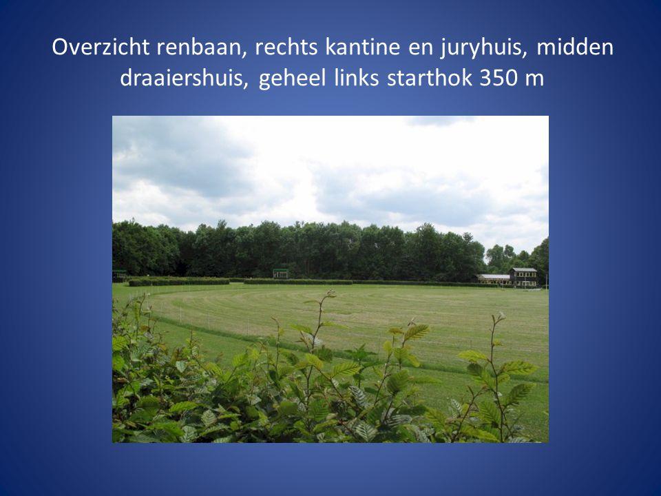 Links de kantine, u ziet het bospad naar de start 350 m