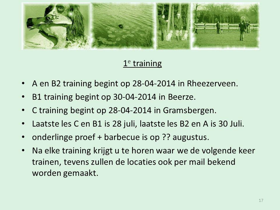 Inschrijfavond 1 e training • A en B2 training begint op 28-04-2014 in Rheezerveen. • B1 training begint op 30-04-2014 in Beerze. • C training begint