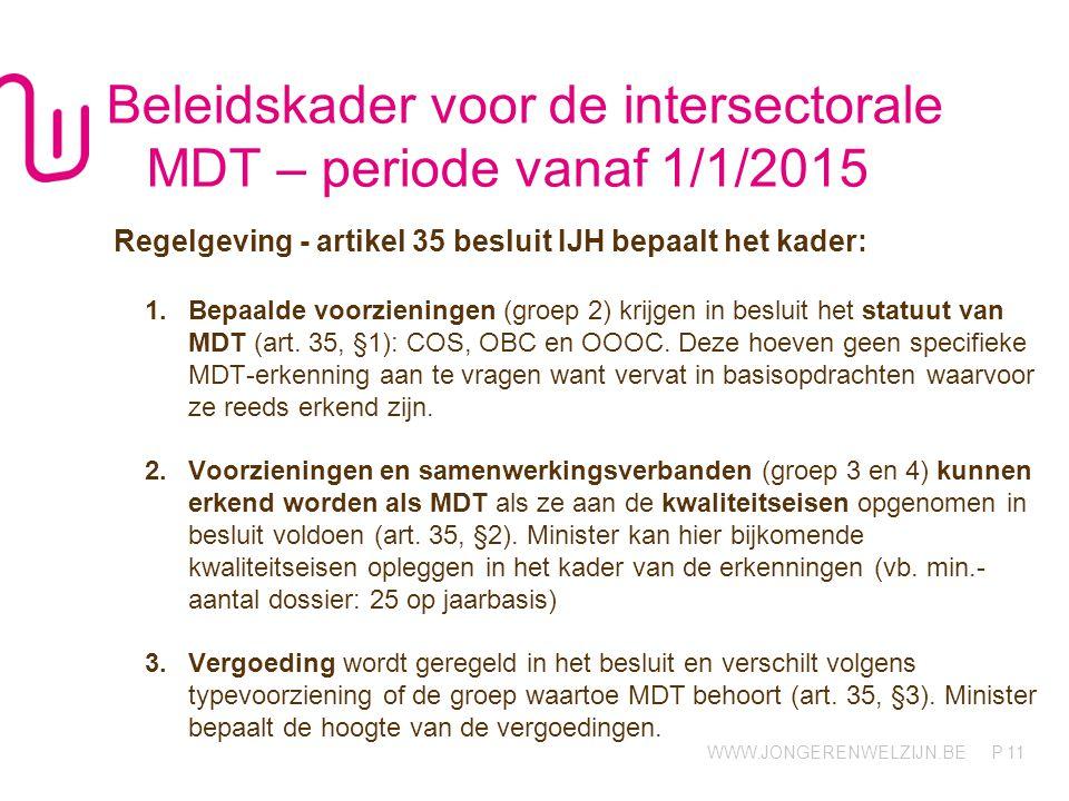 WWW.JONGERENWELZIJN.BE P Beleidskader voor de intersectorale MDT – periode vanaf 1/1/2015 Regelgeving - artikel 35 besluit IJH bepaalt het kader: 1.Bepaalde voorzieningen (groep 2) krijgen in besluit het statuut van MDT (art.