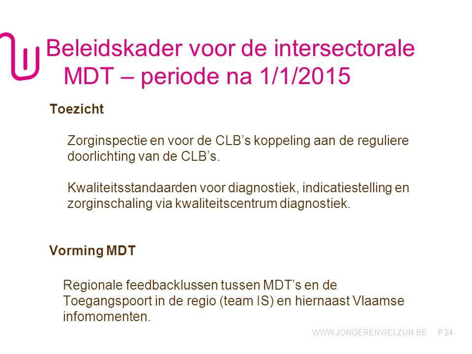 WWW.JONGERENWELZIJN.BE P Beleidskader voor de intersectorale MDT – periode na 1/1/2015 Toezicht Zorginspectie en voor de CLB's koppeling aan de reguliere doorlichting van de CLB's.