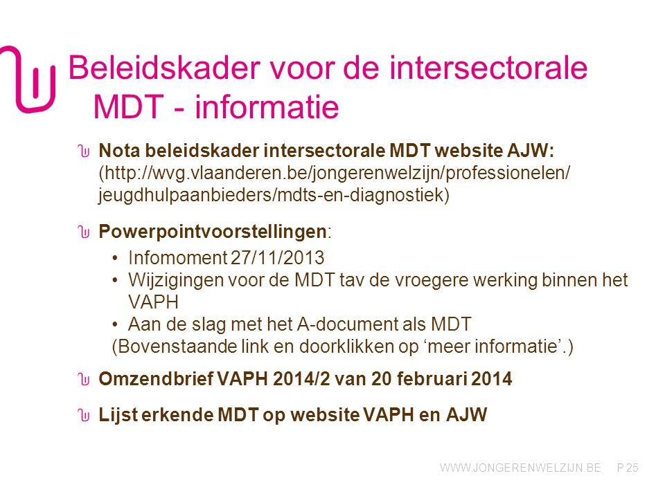 WWW.JONGERENWELZIJN.BE P Beleidskader voor de intersectorale MDT - informatie Nota beleidskader intersectorale MDT website AJW: (http://wvg.vlaanderen.be/jongerenwelzijn/professionelen/ jeugdhulpaanbieders/mdts-en-diagnostiek) Powerpointvoorstellingen: •Infomoment 27/11/2013 •Wijzigingen voor de MDT tav de vroegere werking binnen het VAPH •Aan de slag met het A-document als MDT (Bovenstaande link en doorklikken op 'meer informatie'.) Omzendbrief VAPH 2014/2 van 20 februari 2014 Lijst erkende MDT op website VAPH en AJW 25