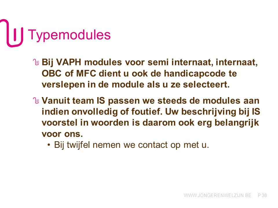 WWW.JONGERENWELZIJN.BE P Typemodules Bij VAPH modules voor semi internaat, internaat, OBC of MFC dient u ook de handicapcode te verslepen in de module als u ze selecteert.