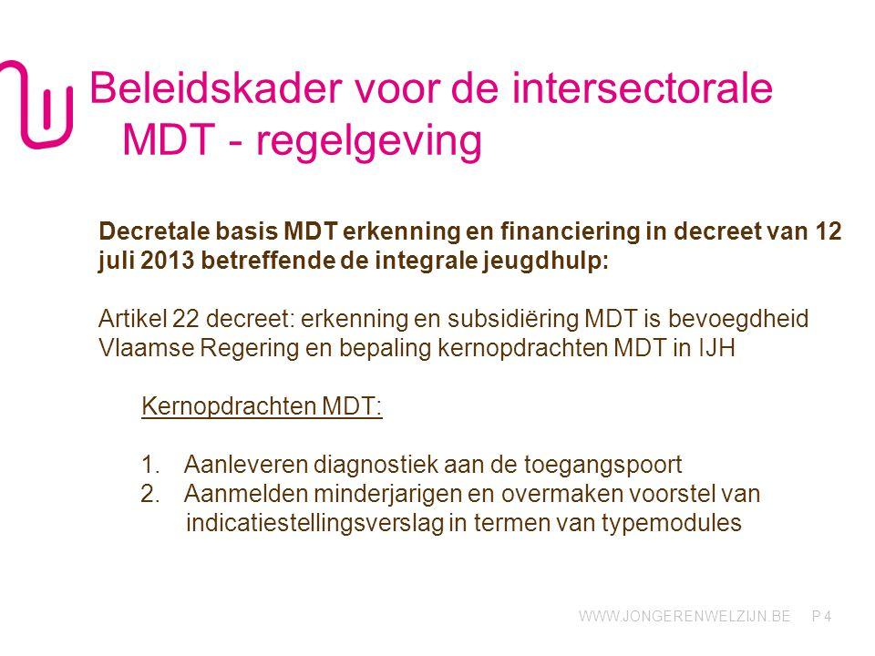 WWW.JONGERENWELZIJN.BE P Beleidskader voor de intersectorale MDT - regelgeving Decretale basis MDT erkenning en financiering in decreet van 12 juli 2013 betreffende de integrale jeugdhulp: Artikel 22 decreet: erkenning en subsidiëring MDT is bevoegdheid Vlaamse Regering en bepaling kernopdrachten MDT in IJH Kernopdrachten MDT: 1.Aanleveren diagnostiek aan de toegangspoort 2.Aanmelden minderjarigen en overmaken voorstel van indicatiestellingsverslag in termen van typemodules 4